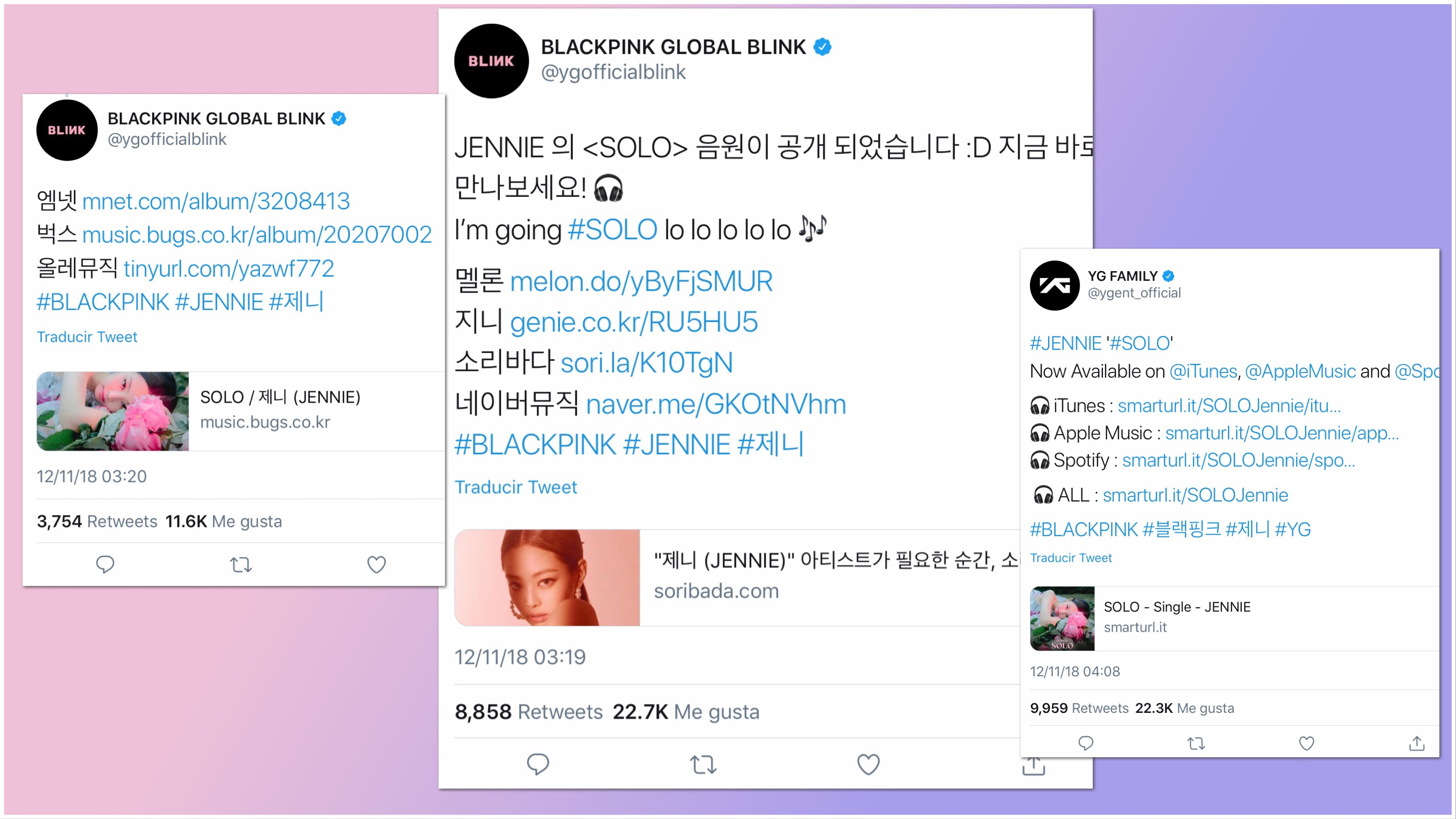 BlackPink Jennie, Solo, tuits