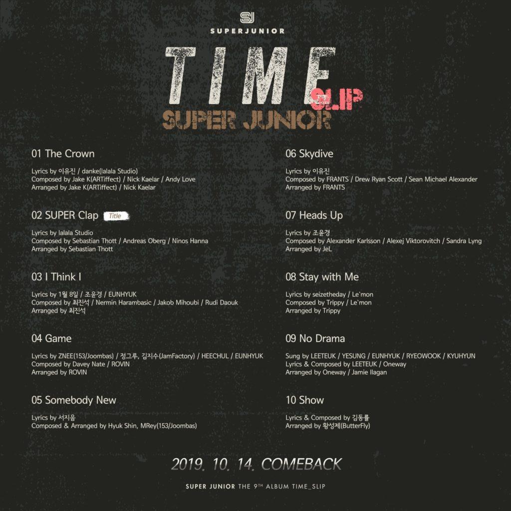SUPER JUNIOR Time_Slip, noveno álbum, lista de canciones.