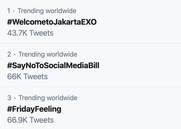 tweeter tending mundial exo